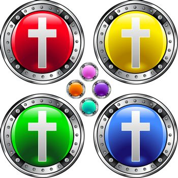 Christian cross colorful button