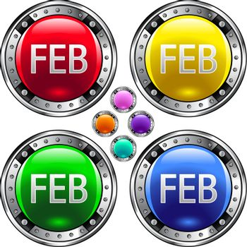 February colorful button