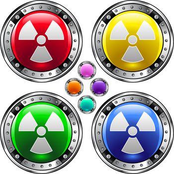 Radioactive hazard colorful button