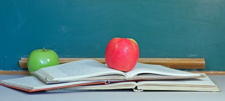 apple of knowledge, green in early education and then red at the end  metaphor