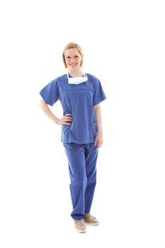 Portrait of a young nurse in scrubs Portrait of a young nurse in scrubs