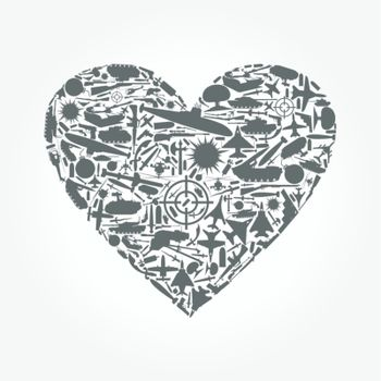 Heart from army subjects. A vector illustration