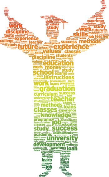 Word silhouette of a graduation student on white background.