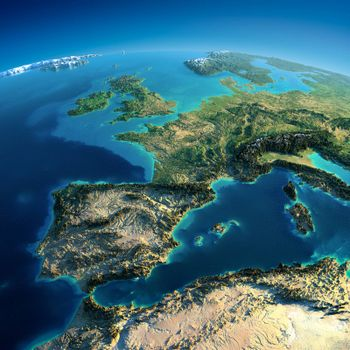 Highly detailed planet Earth in the morning. Exaggerated precise relief lit morning sun. Part of Europe, the Mediterranean Sea. Elements of this image furnished by NASA