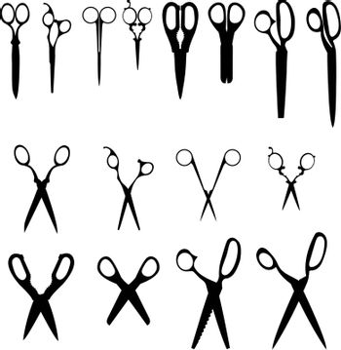 Scissor variety vector silhouettes
