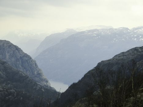 mountains and fjord in norway