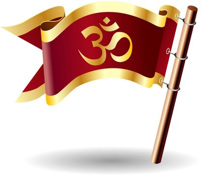 Hindu Om religious symbol on vector royal flag button suitable for print, web, or promotional use