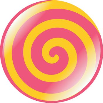 Colored button of spiral shape