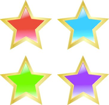 Set of colored buttons in star shape