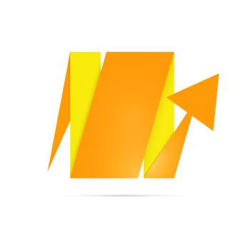 The geometric blank arrow in yellow and orange color
