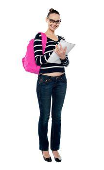 Full length portrait of college student