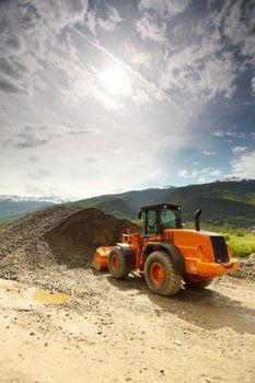 excavator in alps
