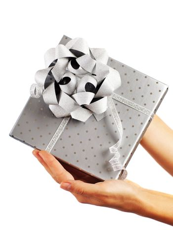 Silver gift box with hands