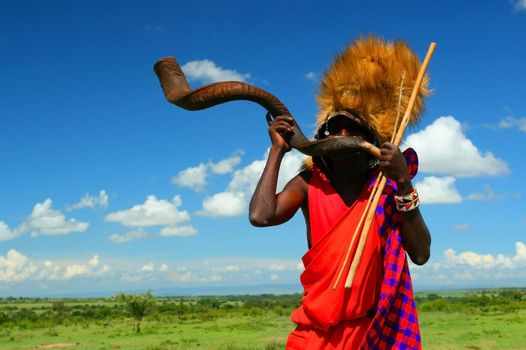 Masai warrior playing traditional horn. Africa. Kenya. Masai Mara