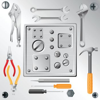 set of tools and set of screws and rivets