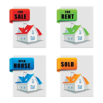 real estate banner set house for sale for rent sold open house