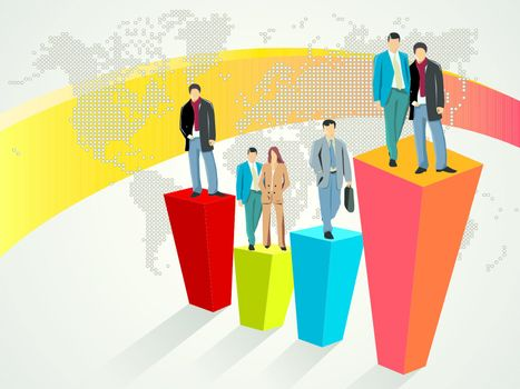 Business people standing on large graph