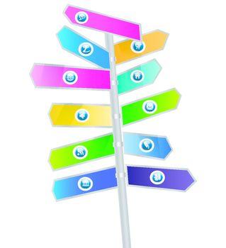 Social Media Sign on arrow