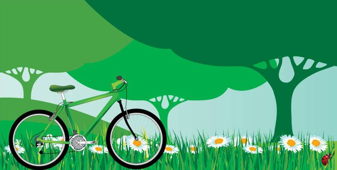 green bicycle with green grass and green tree