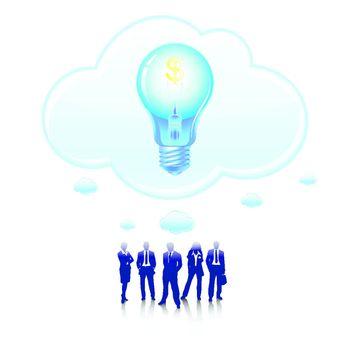 businessman and light bulb with dollar icon money earning idea