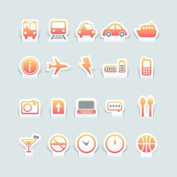 paper cut travel and tranformation icons