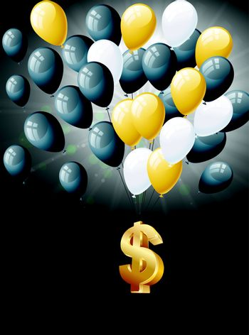 Dollars floating with balloons
