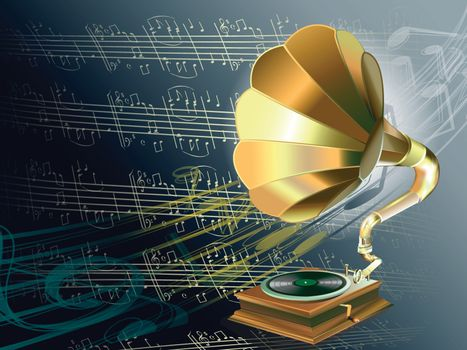 music with gramophone on musical notes background