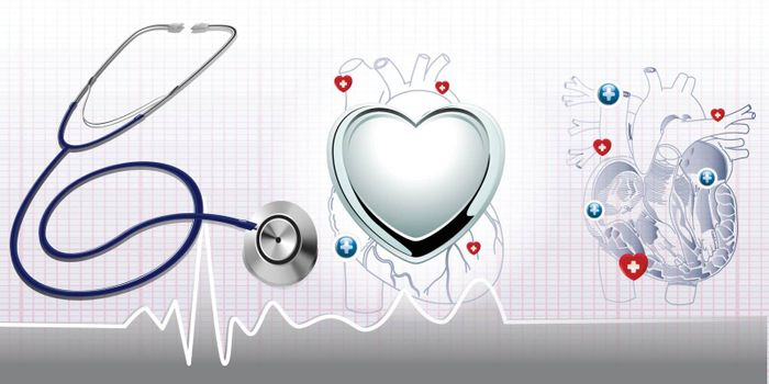 Stethoscope and the heart and ecg background