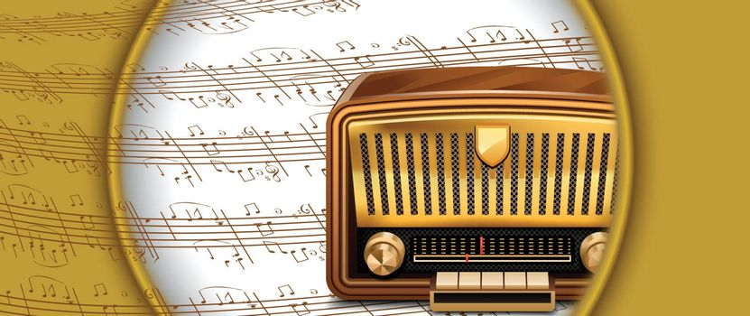 Retro radio on musical notes background