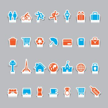 paper cut vacation icons and travel icon