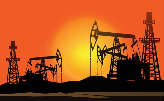 oil derrick in the sunset background