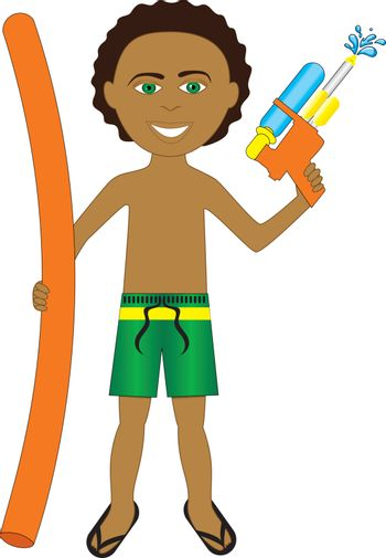 Vector Illustration of little boy with noodle and water gun.