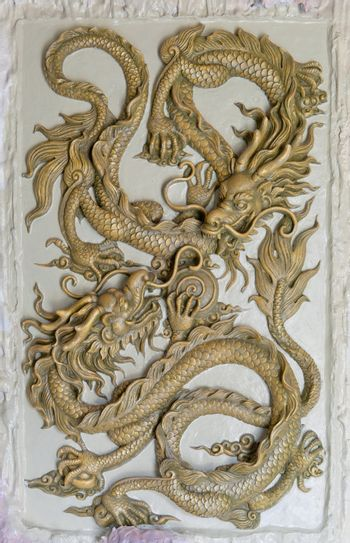 Dragon Sculpture on a wall