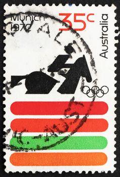 AUSTRALIA - CIRCA 1972: a stamp printed in the Australia shows Equestrian, 20th Olympic Games, Munich, circa 1972