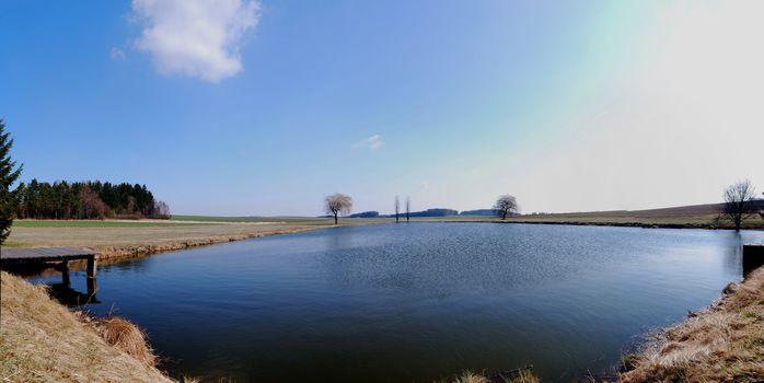 small beautiful lake to swim in the summer panorama view
