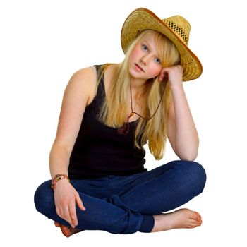 Blonde girl dressed in a rustic style