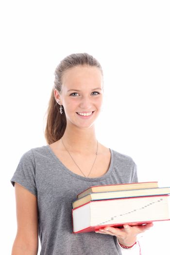 Happy student carrying textbooks Smiling female student with a books