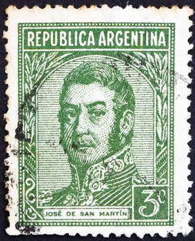ARGENTINA - CIRCA 1935: a stamp printed in the Argentina shows Jose de San Martin, General, circa 1935
