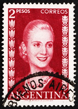 ARGENTINA - CIRCA 1953: a stamp printed in the Argentina shows Maria Eva Duarte de Peron, First Lady of Argentina, circa 1953