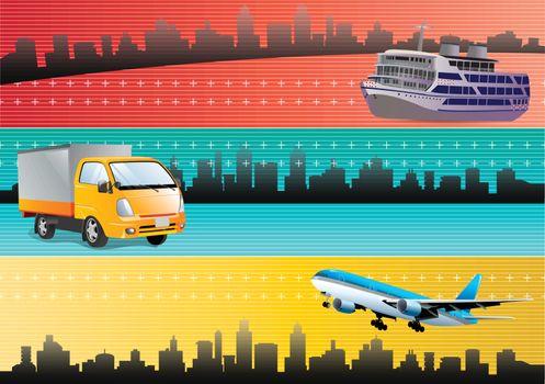 logistic transportation web banners