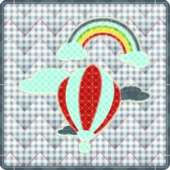 Illustrations patchwork of balloon with rainbow celebration