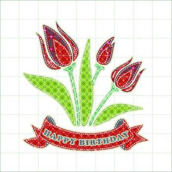 Illustrations patchwork of Tulips celebration