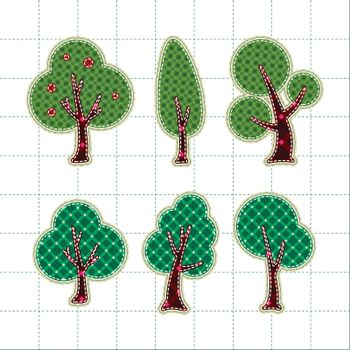 Collection patchwork concept of tree icons set
