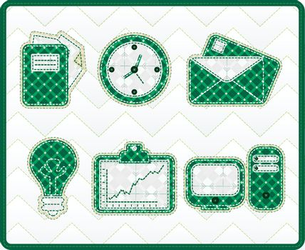 Collection patchwork concept of office icons