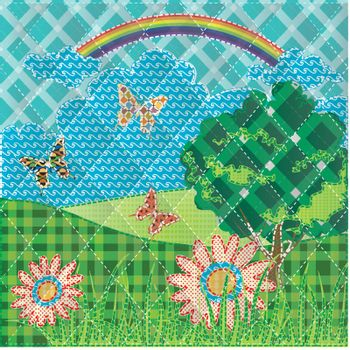 patchwork with hills flowers , butterfly and tree