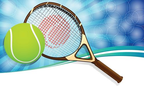Tennis balls and racquet on blue background with copy space