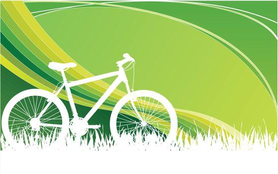 white Bike graphic with green blackground