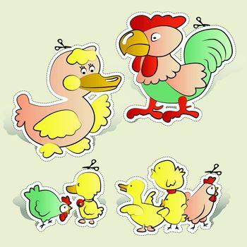 Chicken, duck cartoons paper cut