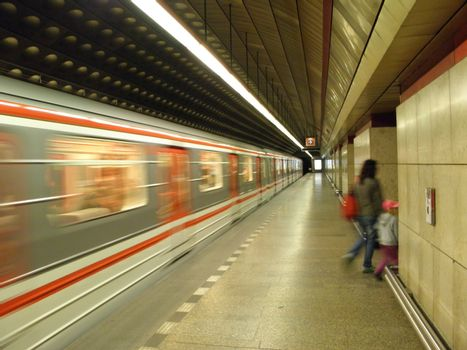 Photo from the Metro in Prague at exit a subway train.