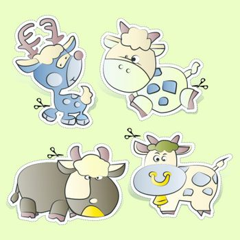 cartoons paper cut Farm animals set